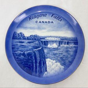 Vintage decorative plate Niagara Falls blue white